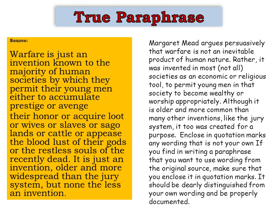 Margaret Mead argues persuasively that warfare is not an inevitable product of human nature.