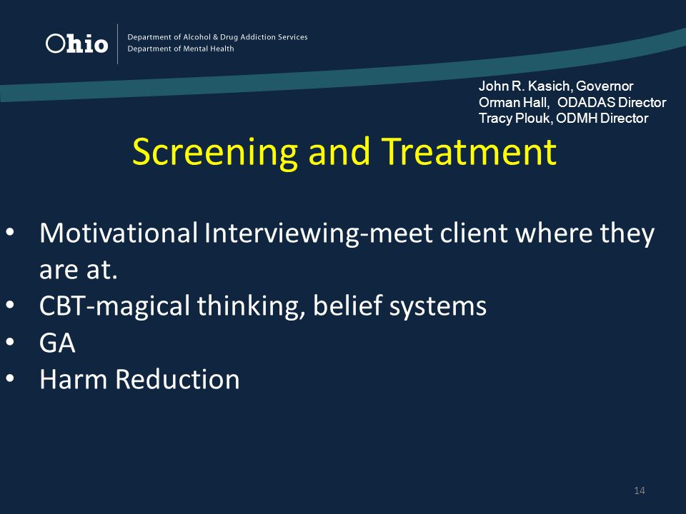 Screening and Treatment 14 Motivational Interviewing-meet client where they are at.