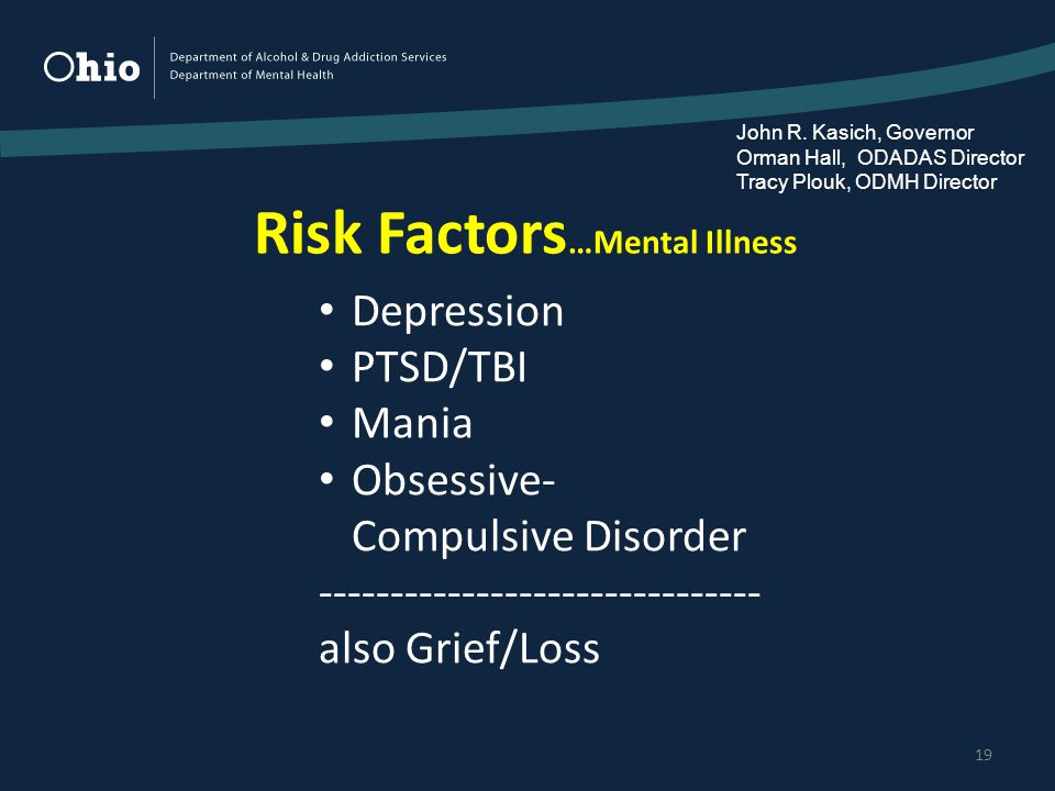 Risk Factors …Mental Illness 19 Depression PTSD/TBI Mania Obsessive- Compulsive Disorder ------------------------------- also Grief/Loss John R.
