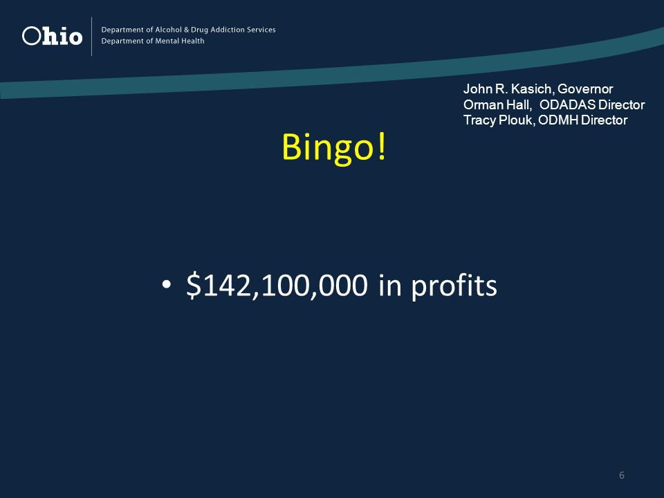 Bingo. 6 $142,100,000 in profits John R.