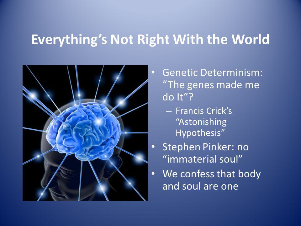 Everything's Not Right With the World Genetic Determinism: The genes made me do It .