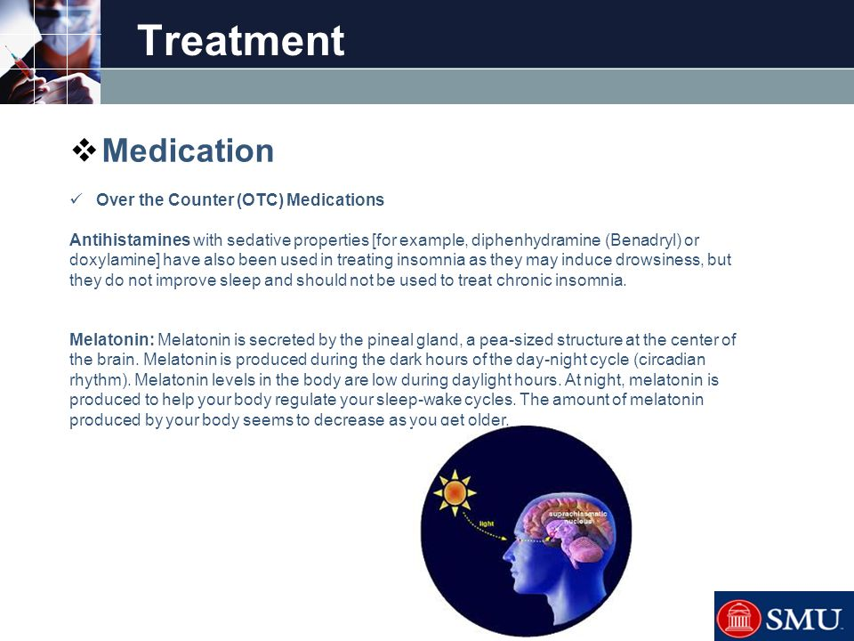 LOGO Treatment  Medication Over the Counter (OTC) Medications Antihistamines with sedative properties [for example, diphenhydramine (Benadryl) or dox