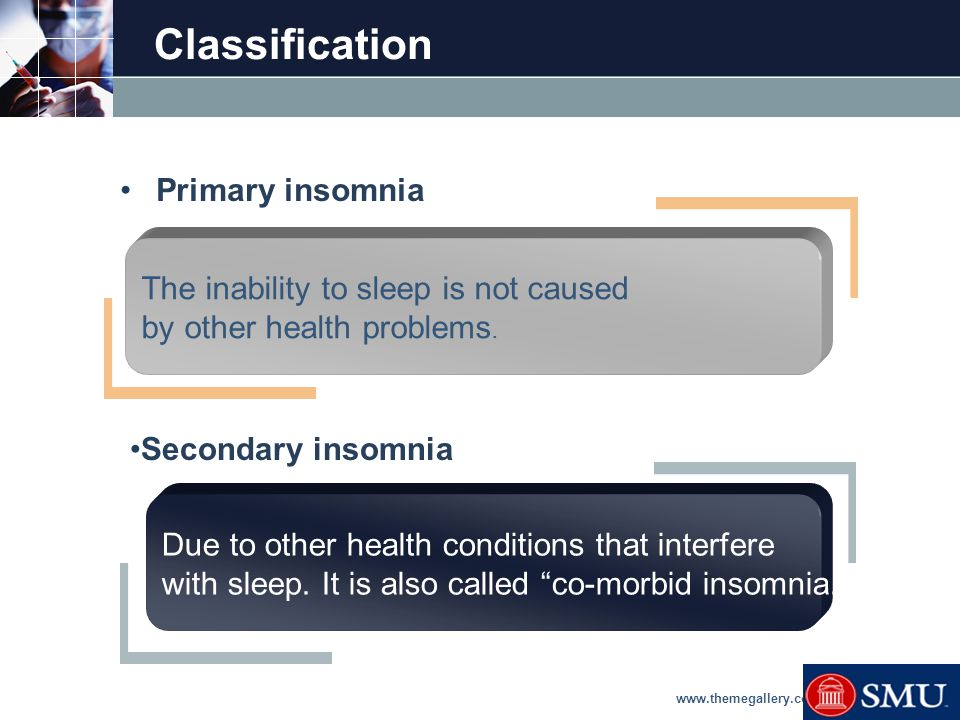LOGO Causes and co-morbidities  Causes of Secondary Insomnia.