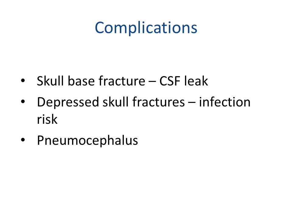 Complications Skull base fracture – CSF leak Depressed skull fractures – infection risk Pneumocephalus