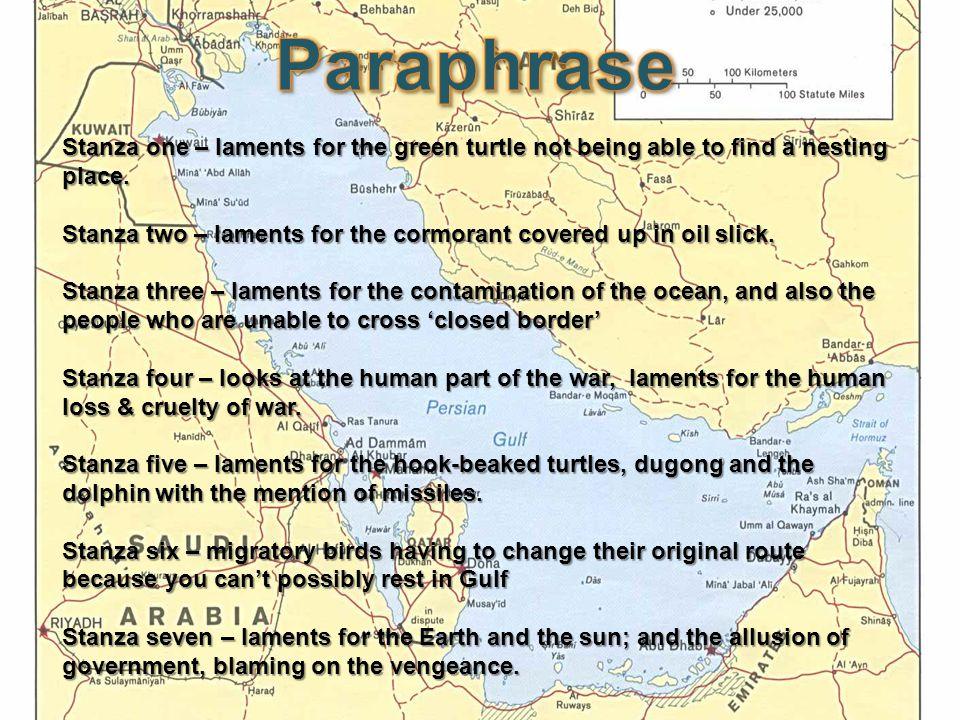 Green turtle embodies innocence in the poem.