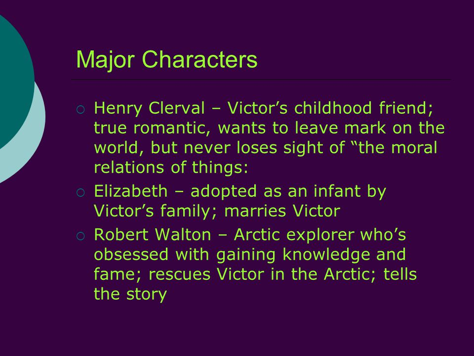 Major Characters  Henry Clerval – Victor's childhood friend; true romantic, wants to leave mark on the world, but never loses sight of the moral relations of things:  Elizabeth – adopted as an infant by Victor's family; marries Victor  Robert Walton – Arctic explorer who's obsessed with gaining knowledge and fame; rescues Victor in the Arctic; tells the story