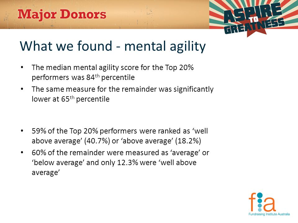 What we found - mental agility The median mental agility score for the Top 20% performers was 84 th percentile The same measure for the remainder was significantly lower at 65 th percentile 59% of the Top 20% performers were ranked as 'well above average' (40.7%) or 'above average' (18.2%) 60% of the remainder were measured as 'average' or 'below average' and only 12.3% were 'well above average'