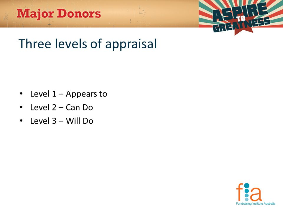 Three levels of appraisal Level 1 – Appears to Level 2 – Can Do Level 3 – Will Do