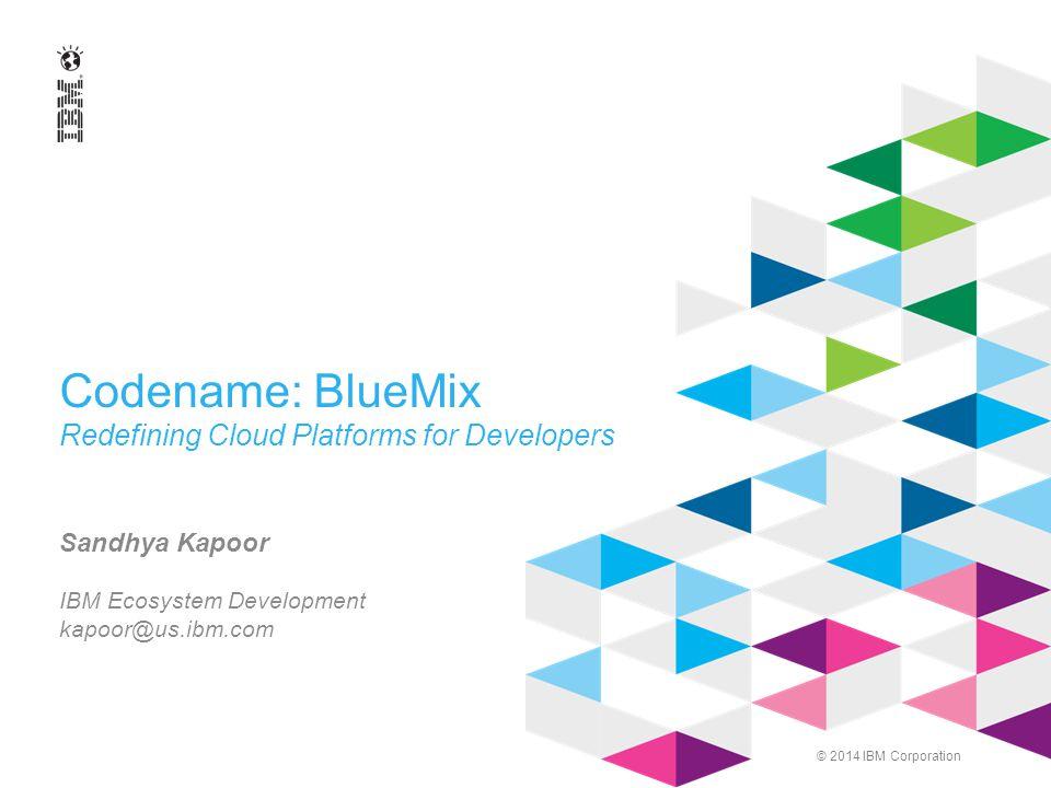 © 2014 IBM Corporation Codename: BlueMix Redefining Cloud Platforms for Developers Sandhya Kapoor IBM Ecosystem Development kapoor@us.ibm.com