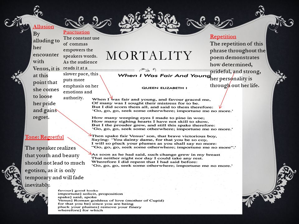 MORTALITY  Diction The word importune emphasizes the pride and ego of the speaker, as it means to bother or pester.