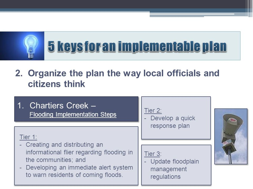Tier 3: - Update floodplain management regulations Tier 3: - Update floodplain management regulations Tier 2: - Develop a quick response plan Tier 2: - Develop a quick response plan 1.Chartiers Creek – Flooding Implementation Steps 2.