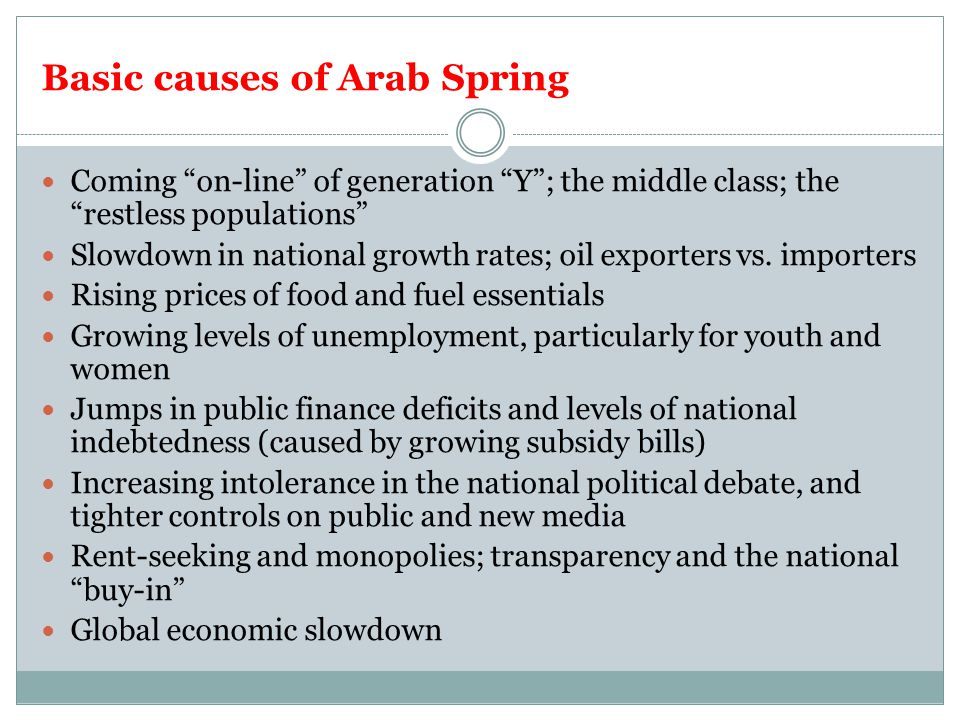 Basic causes of Arab Spring Coming on-line of generation Y ; the middle class; the restless populations Slowdown in national growth rates; oil exporters vs.