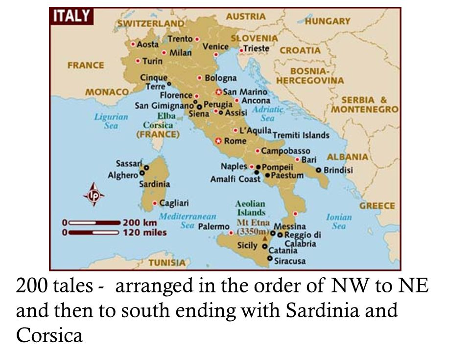 200 tales - arranged in the order of NW to NE and then to south ending with Sardinia and Corsica