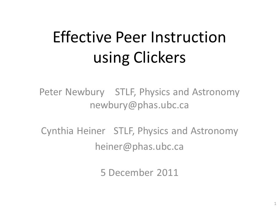 32 nonecorrectparticipation Clicker points Student engagement (and learning) high low If it's not worth marks, students won't do it. If you convince your students peer instruction is important, through ● continual use (that is, you value it) ● repeated reminders ● nearly-identical questions on homework and exams then points may not be necessary
