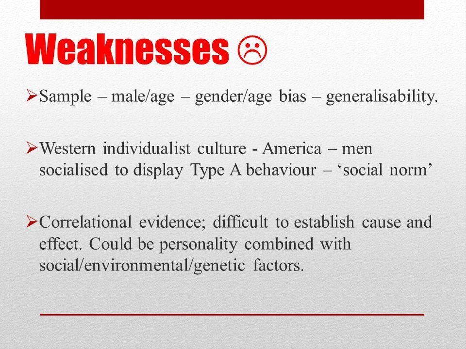 Weaknesses   Sample – male/age – gender/age bias – generalisability.