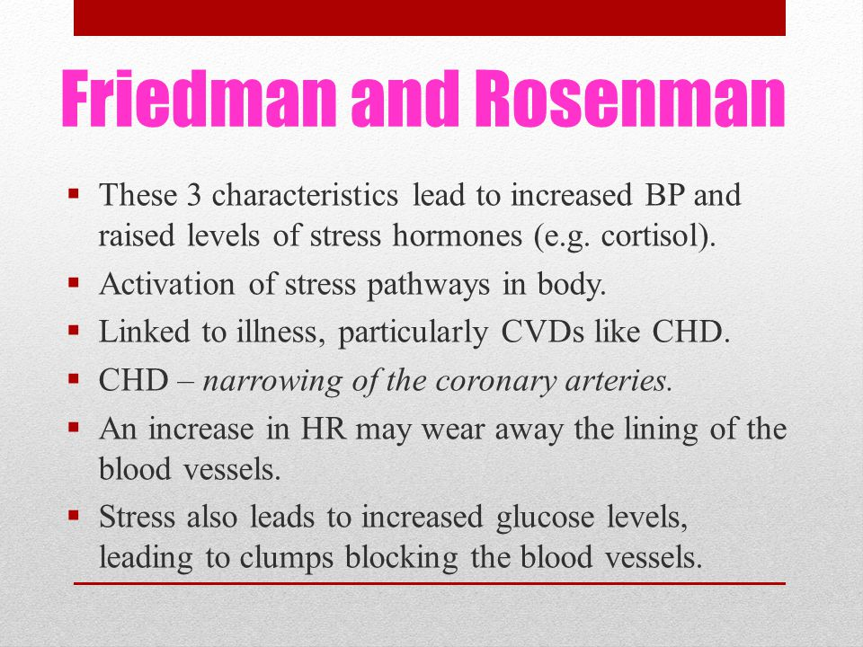 Friedman and Rosenman  These 3 characteristics lead to increased BP and raised levels of stress hormones (e.g.
