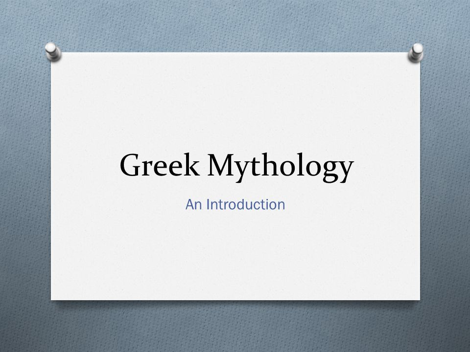 Greek Mythology An Introduction