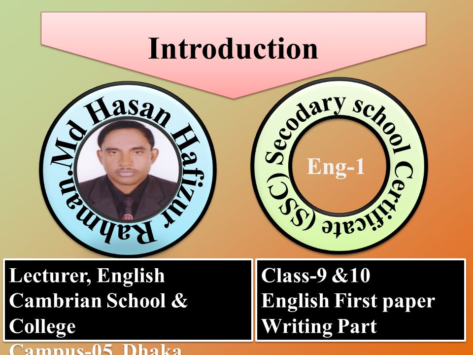 Introduction Eng-1 Lecturer, English Cambrian School & College Campus-05, Dhaka. Lecturer, English Cambrian School & College Campus-05, Dhaka. Class-9