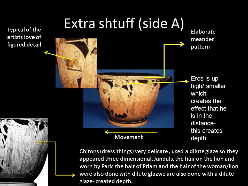 Extra shtuff (side A) Movement Elaborate meander pattern Chitons (dress things) very delicate, used a dilute glaze so they appeared three dimensional.