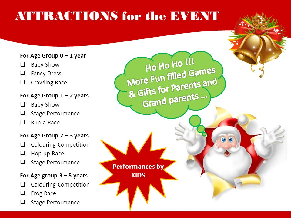 ATTRACTIONS for the EVENT For Age Group 0 – 1 year  Baby Show  Fancy Dress  Crawling Race For Age Group 1 – 2 years  Baby Show  Stage Performance  Run-a-Race For Age Group 2 – 3 years  Colouring Competition  Hop-up Race  Stage Performance For Age group 3 – 5 years  Colouring Competition  Frog Race  Stage Performance Performances by KIDS