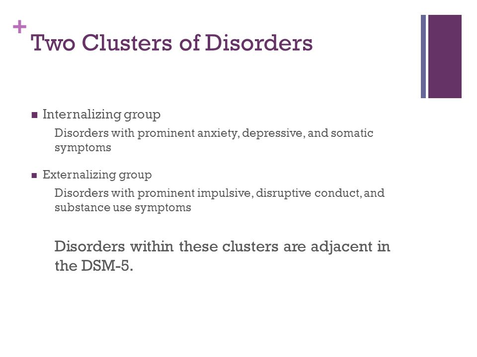 + Two Clusters of Disorders Internalizing group Disorders with prominent anxiety, depressive, and somatic symptoms Externalizing group Disorders with