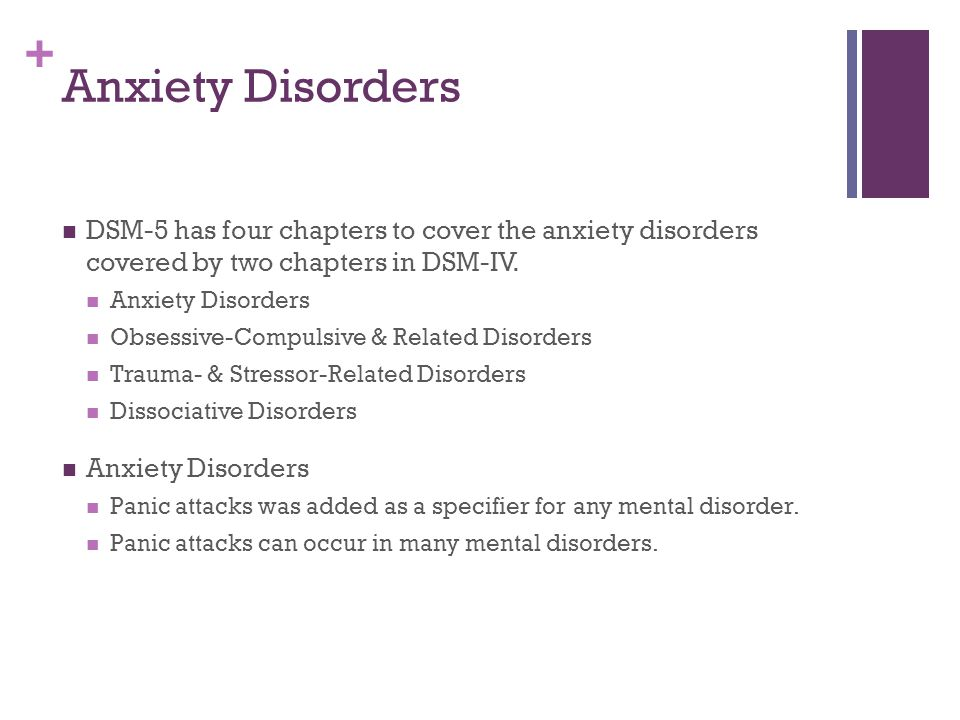 + Anxiety Disorders DSM-5 has four chapters to cover the anxiety disorders covered by two chapters in DSM-IV. Anxiety Disorders Obsessive-Compulsive &