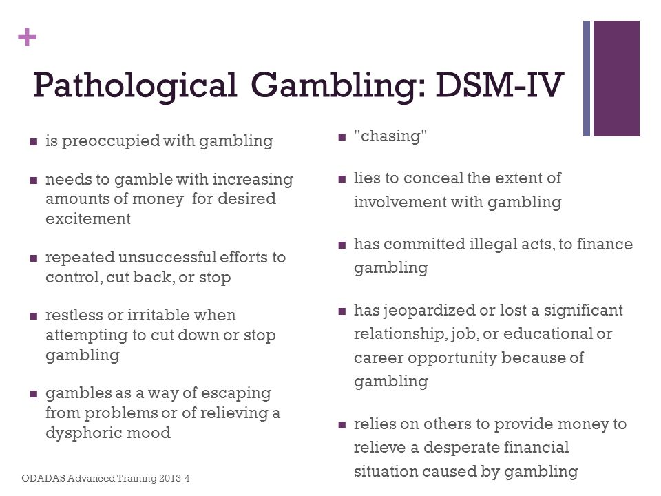 + is preoccupied with gambling needs to gamble with increasing amounts of money for desired excitement repeated unsuccessful efforts to control, cut b