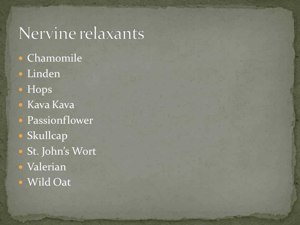 Chamomile Linden Hops Kava Kava Passionflower Skullcap St. John's Wort Valerian Wild Oat