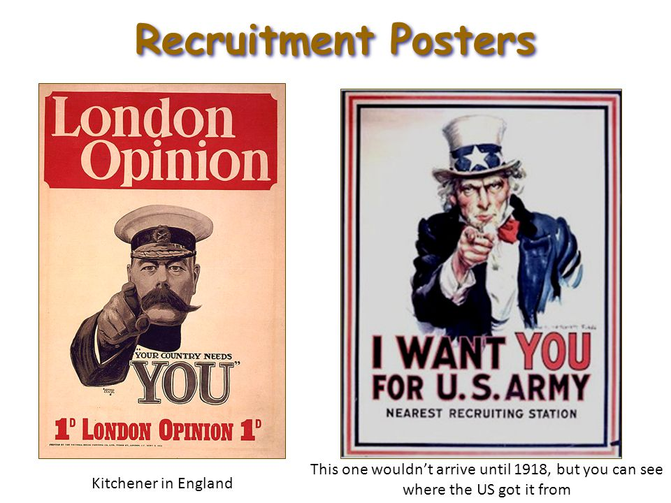 Recruitment Posters Kitchener in England This one wouldn't arrive until 1918, but you can see where the US got it from