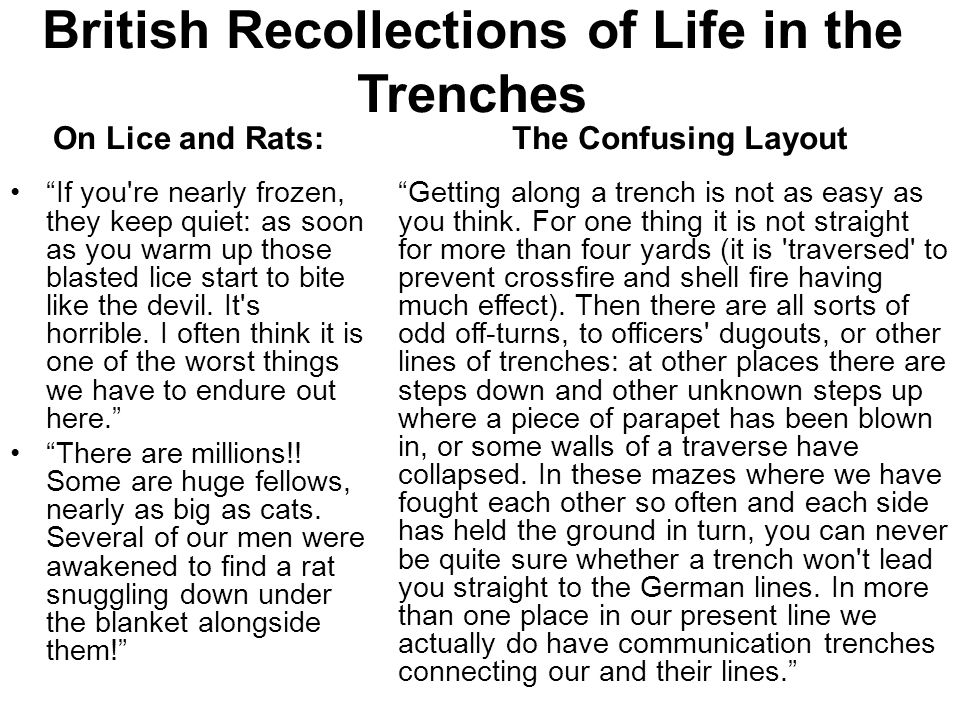 "British Recollections of Life in the Trenches On Lice and Rats: ""If you're nearly frozen, they keep quiet: as soon as you warm up those blasted lice s"
