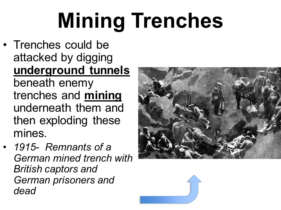 Mining Trenches Trenches could be attacked by digging underground tunnels beneath enemy trenches and mining underneath them and then exploding these m