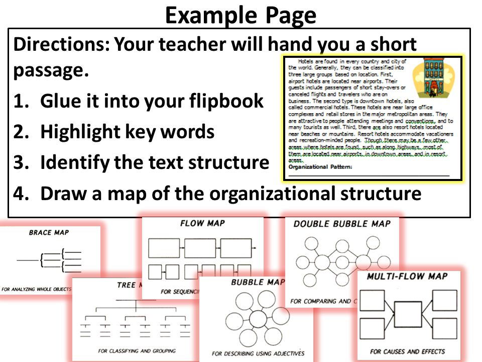 Example Page Directions: Your teacher will hand you a short passage. 1.Glue it into your flipbook 2.Highlight key words 3.Identify the text structure