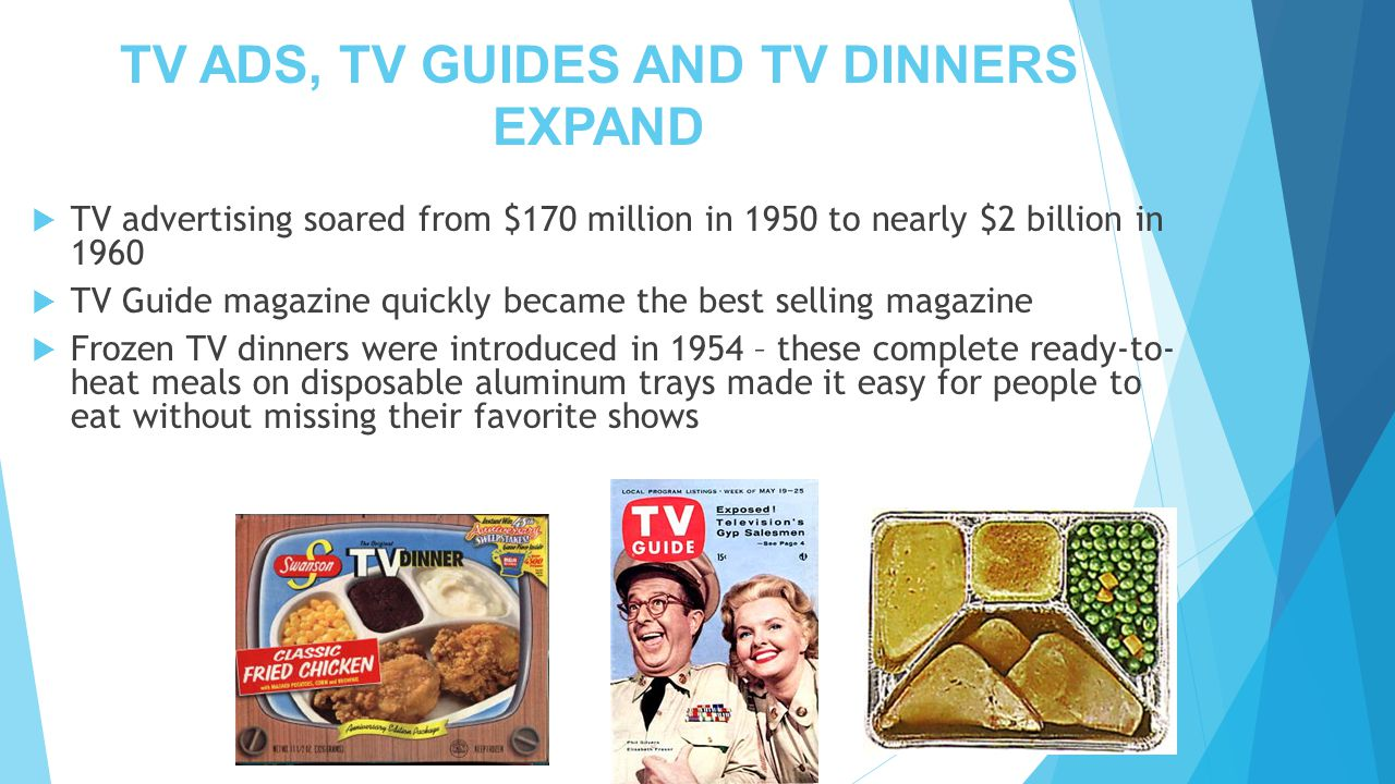 TV ADS, TV GUIDES AND TV DINNERS EXPAND  TV advertising soared from $170 million in 1950 to nearly $2 billion in 1960  TV Guide magazine quickly became the best selling magazine  Frozen TV dinners were introduced in 1954 – these complete ready-to- heat meals on disposable aluminum trays made it easy for people to eat without missing their favorite shows