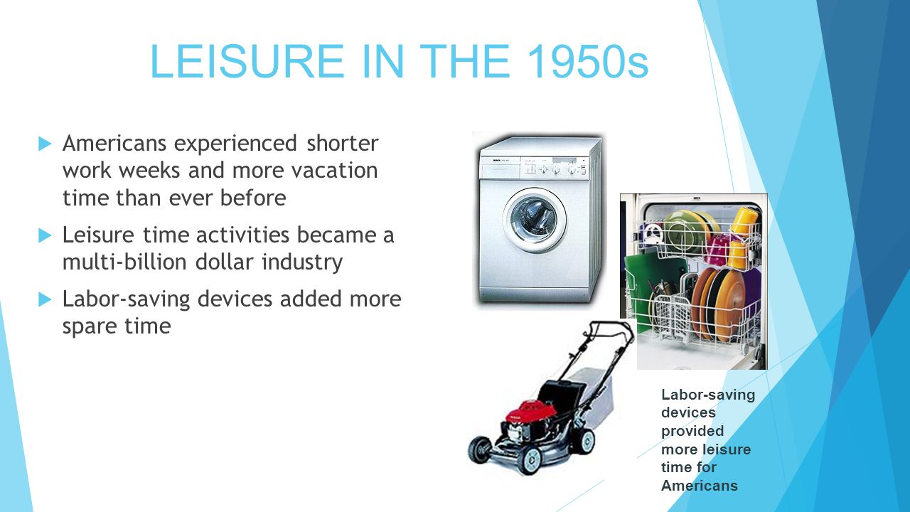 LEISURE IN THE 1950s  Americans experienced shorter work weeks and more vacation time than ever before  Leisure time activities became a multi-billion dollar industry  Labor-saving devices added more spare time Labor-saving devices provided more leisure time for Americans