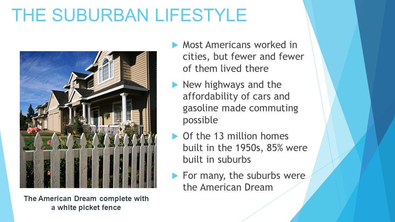 THE SUBURBAN LIFESTYLE  Most Americans worked in cities, but fewer and fewer of them lived there  New highways and the affordability of cars and gasoline made commuting possible  Of the 13 million homes built in the 1950s, 85% were built in suburbs  For many, the suburbs were the American Dream The American Dream complete with a white picket fence