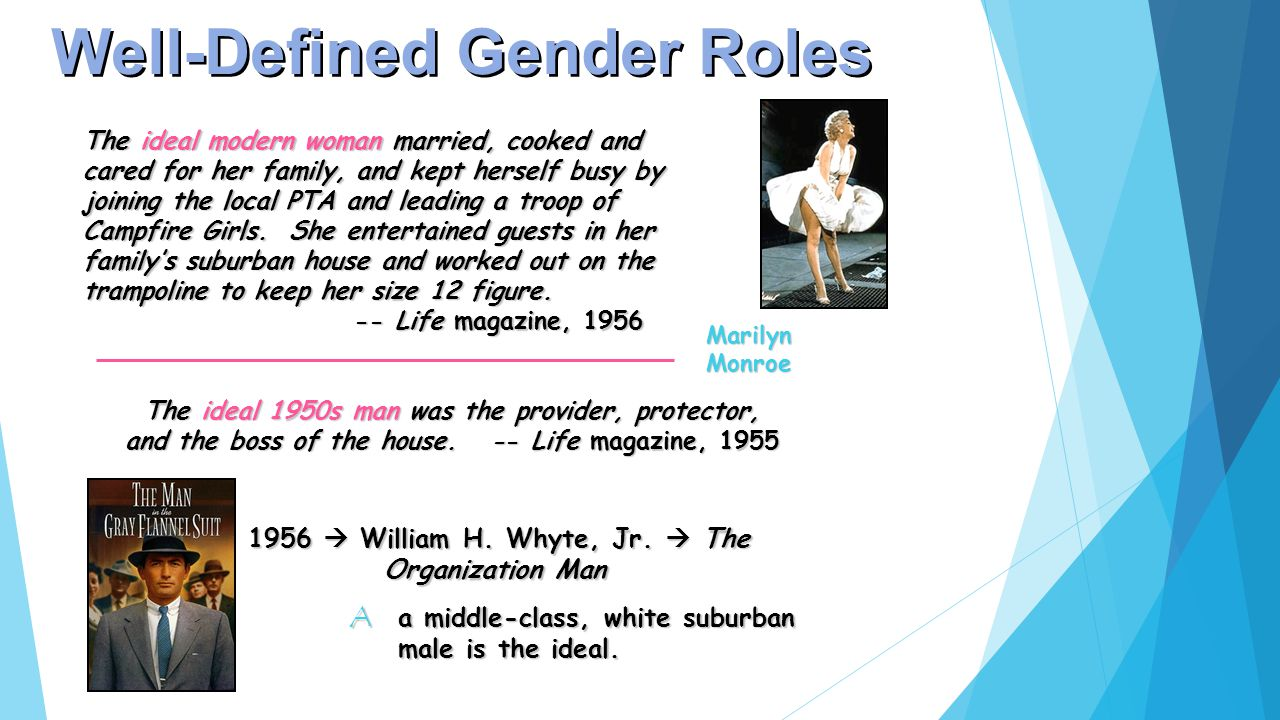 Well-Defined Gender Roles The ideal modern woman married, cooked and cared for her family, and kept herself busy by joining the local PTA and leading