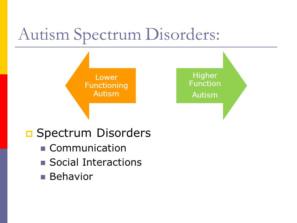 Autism Spectrum Disorders: Lower Functioning Autism Higher Function Autism  Spectrum Disorders Communication Social Interactions Behavior