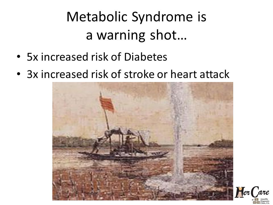 Metabolic Syndrome is a warning shot… 5x increased risk of Diabetes 3x increased risk of stroke or heart attack