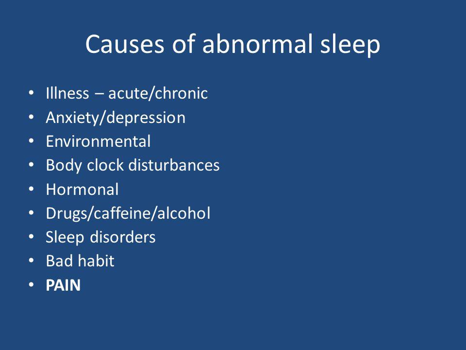 Causes of abnormal sleep Illness – acute/chronic Anxiety/depression Environmental Body clock disturbances Hormonal Drugs/caffeine/alcohol Sleep disorders Bad habit PAIN