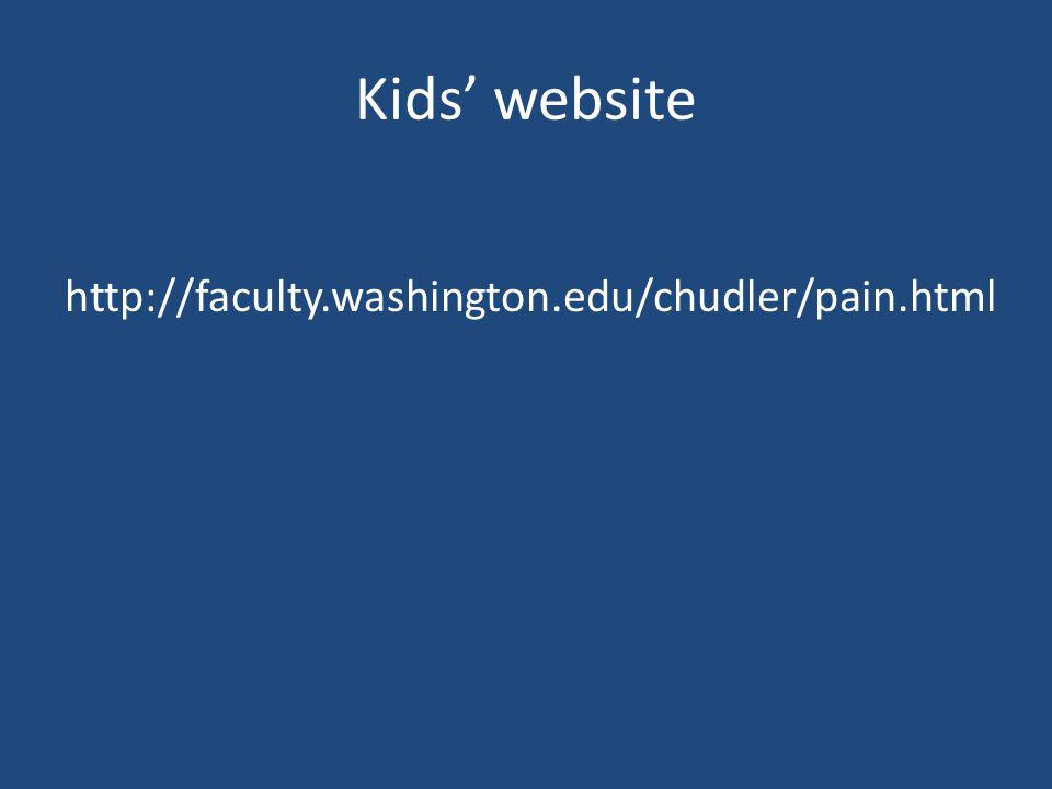 Kids' website http://faculty.washington.edu/chudler/pain.html