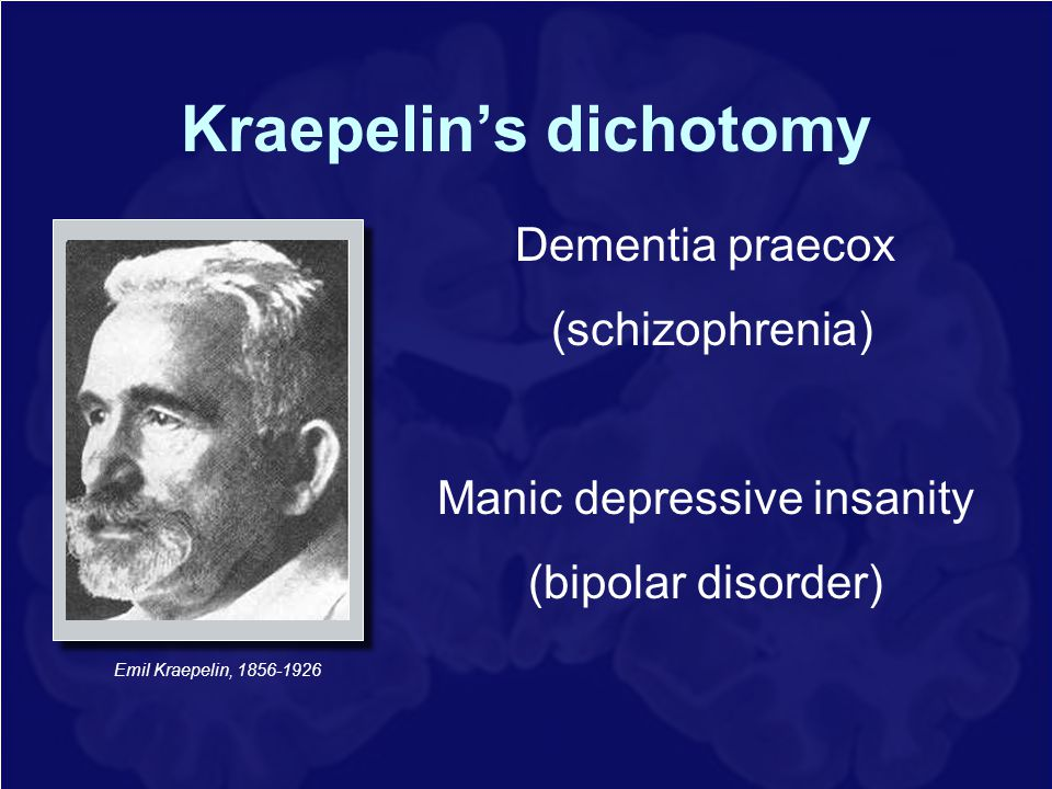 Kraepelin's dichotomy Emil Kraepelin, 1856-1926 Dementia praecox (schizophrenia) Manic depressive insanity (bipolar disorder)