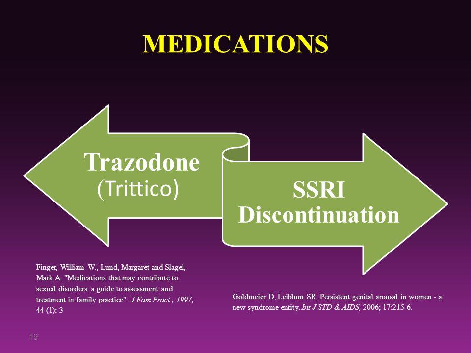 MEDICATIONS Trazodone ( Trittico) SSRI Discontinuation 16 Finger, William W., Lund, Margaret and Slagel, Mark A.