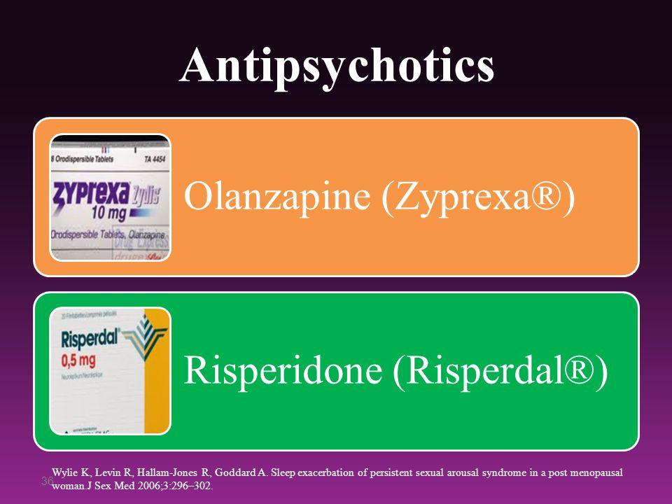 Antipsychotics Olanzapine (Zyprexa®) Risperidone (Risperdal®) 36 Wylie K, Levin R, Hallam-Jones R, Goddard A. Sleep exacerbation of persistent sexual