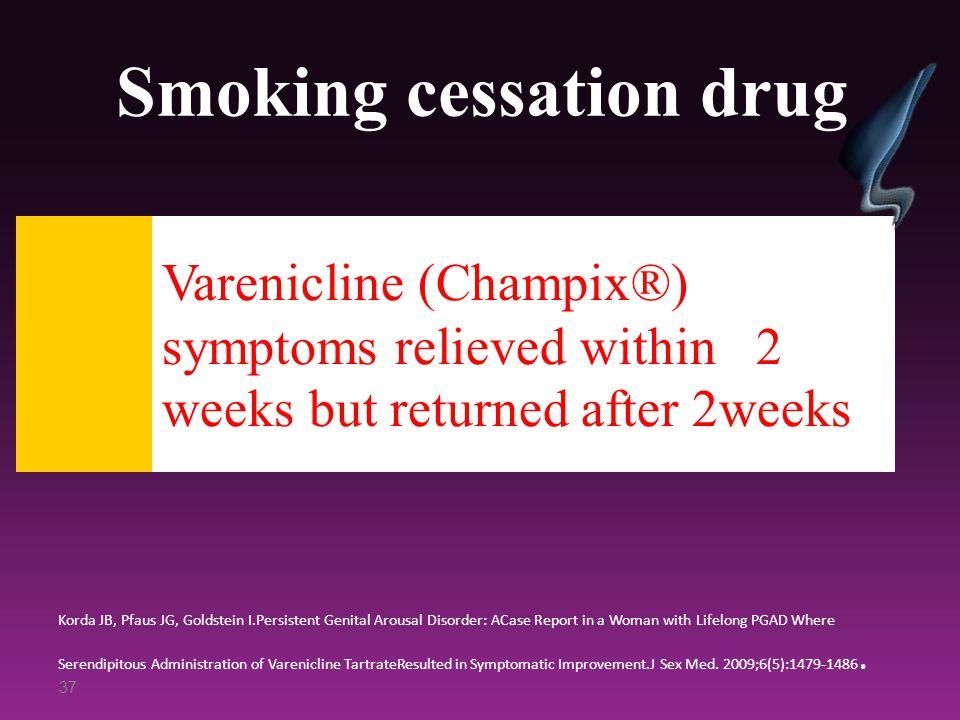 Smoking cessation drug Korda JB, Pfaus JG, Goldstein I.Persistent Genital Arousal Disorder: ACase Report in a Woman with Lifelong PGAD Where Serendipi