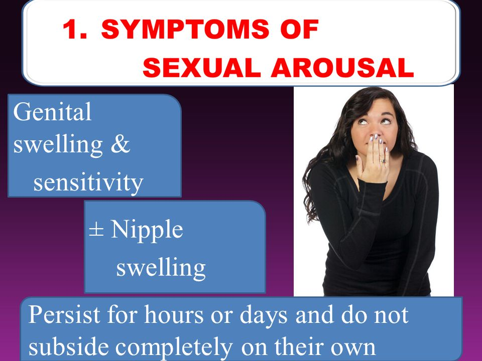 7 Genital swelling & sensitivity ± Nipple swelling Persist for hours or days and do not subside completely on their own