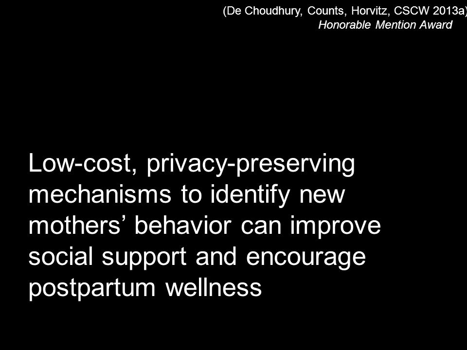 Low-cost, privacy-preserving mechanisms to identify new mothers' behavior can improve social support and encourage postpartum wellness (De Choudhury, Counts, Horvitz, CSCW 2013a) Honorable Mention Award