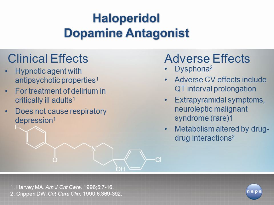 Hypnotic agent with antipsychotic properties 1 For treatment of delirium in critically ill adults 1 Does not cause respiratory depression 1 Haloperidol Dopamine Antagonist Clinical EffectsAdverse Effects Dysphoria 2 Adverse CV effects include QT interval prolongation Extrapyramidal symptoms, neuroleptic malignant syndrome (rare)1 Metabolism altered by drug- drug interactions 2 1.