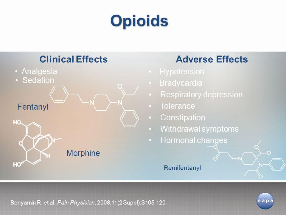 Opioids Hypotension Bradycardia Respiratory depression Tolerance Constipation Withdrawal symptoms Hormonal changes Sedation Analgesia Adverse EffectsClinical Effects Benyamin R, et al.