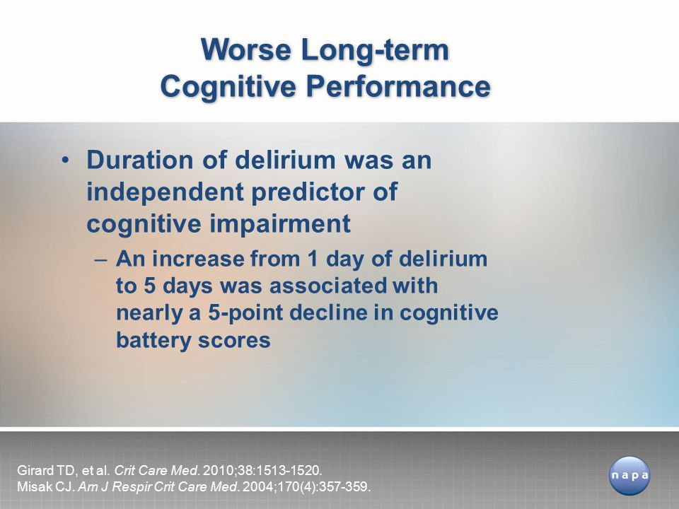Duration of delirium was an independent predictor of cognitive impairment –An increase from 1 day of delirium to 5 days was associated with nearly a 5-point decline in cognitive battery scores Worse Long-term Cognitive Performance Girard TD, et al.
