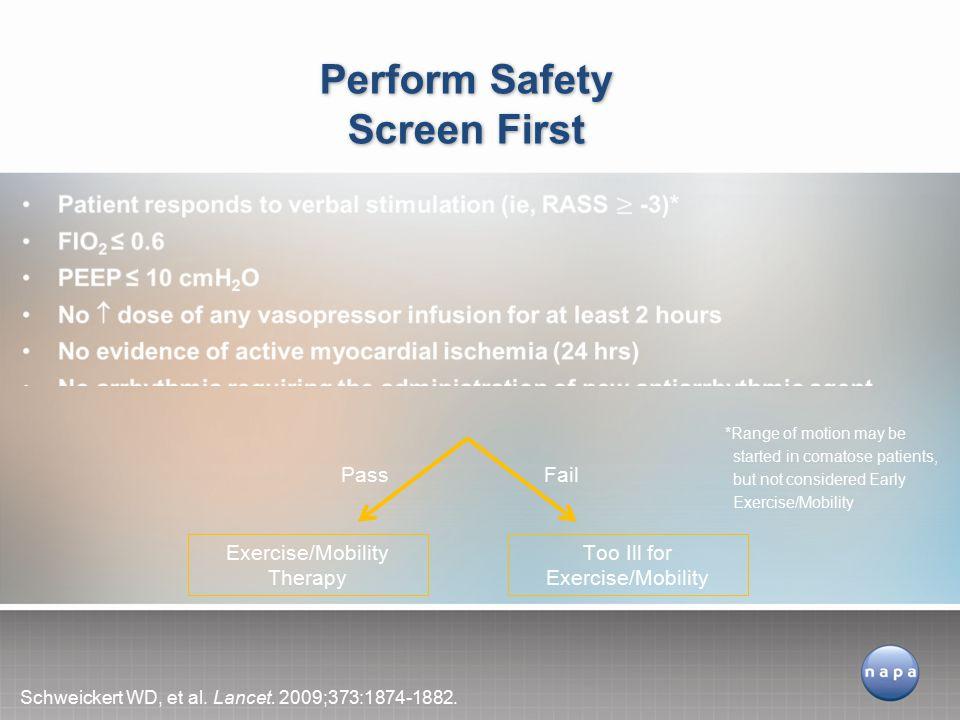 Perform Safety Screen First Schweickert WD, et al.